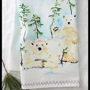 Anthropologie polar bear visual kitchen towel new